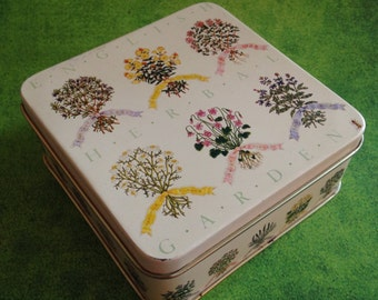 Vintage English Herbal Gardens square coasters set by Enesco