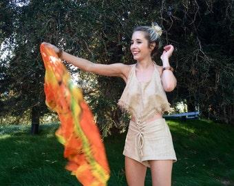 Hemp Pocahontas - Double Fringe Backless Tribal Halter Tank Top