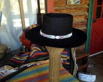 Southern Plains traditional pattern loom woven seed bead hatband with black deerskin backing and tie // men's hatband // women's hatband