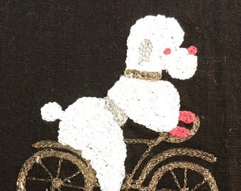 Poodle on a Gold Bicycle Dish Towel