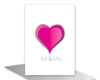 Wedding day card Mr & Mrs card Wedding congratulations Engagement contemporary pink heart card for Bride and Groom, add personalised message