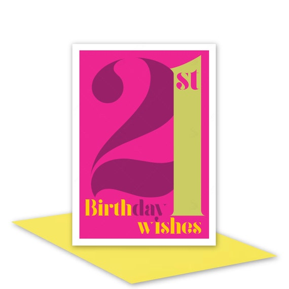 Items Similar To 21st Birthday Wishes Card For Her 21