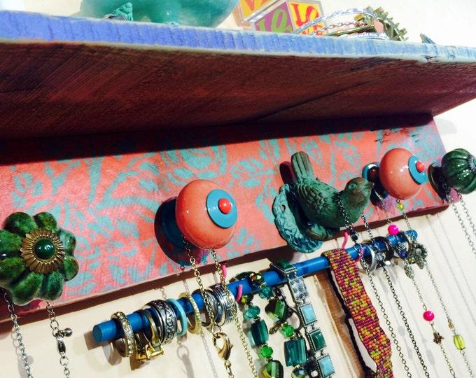 Floating shelves Reclaimed wood wall organizer boho bedroo shelving /jewelry holder teal roses bird 5 knobs 2 hooks wooden bracelet rod