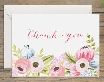 "Bridal Shower Thank You Card - Printable Wedding Thank You - Rustic Bridal Shower - INSTANT DOWNLOAD - 3.5x5"""