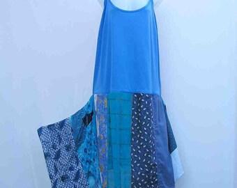 Blue slip Dress, plus size dress, blue dress, patchwork dress, au 26 UK 24 US 22 dress, 1x 2x 3x dress, upcycled dress, refashioned dress