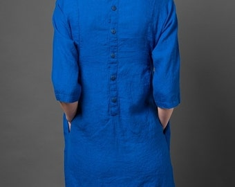 Blue Linen Dress - Womens Dresses - Flax - Natural Clothing - Dress Woman