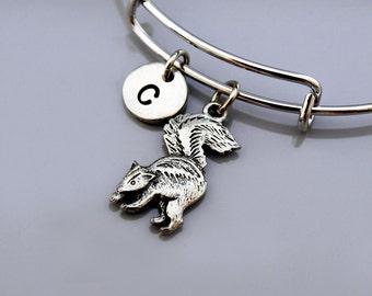 Skunk charm bangle, Skunk charm bracelet, polecats, Expandable bangle, Personalized bracelet, Charm bangle, Monogram, Initial bracelet