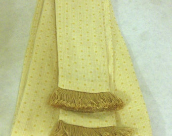 Butter & Mustard Yellow Linen Dotted Sash w/Pale Gold Fringe for Pirate, Ren Faire, Cosplay