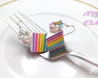 Rainbow Cake Earrings, Miniature Food Jewelry, Polymer Clay Food, Cake Earrings, Cake Jewelry, Layer Cake