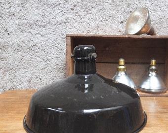 Black industrial lamp / Suspension / enamelled sheet metal / Made in France 50