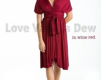 Bridesmaid Dress Infinity Dress Wine Red Straight Hem Knee Length Wrap Convertible Dress Wedding Dress