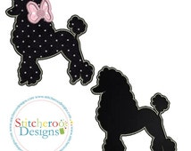 Poodle Applique Design- With and without applique bow -In Hoop sizes 4x4, 5x7, 7x7, 9x9- Instant Download - for Embroidery Machines