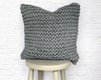 Chunky Knit Cushion Pillow in Mid Grey - Hand Knitted Garter Cushion