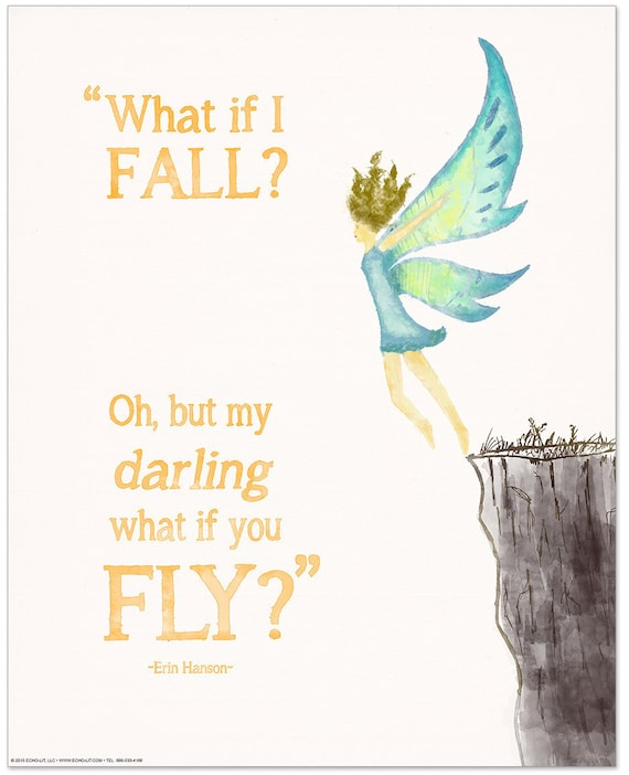 what if i fall inspirational literary quote poster for