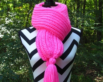 READY to SHIP-Hand Knit on Needles-Long Winter Scarf-Pretty N Pink