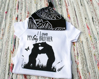 Little Brother Big Brother Outfit wtih Organic Bamboo Hat, Woodland Baby Set, Little Brother Set, Baby shower gift, Little Brother Onesie