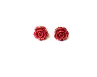 Rose Earring Studs - Red Rose Earrings - Maroon Rose Stud Earrings - Red Flower Earrings - Silver Jewelry