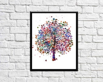 Tree Nature Love Watercolor Print Wedding Gift Archival Fine Art Print Wall Decor Art Home Nursery Art Decor Wall Hanging
