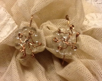 "Copper and crystal earrings. ""Flowers"""
