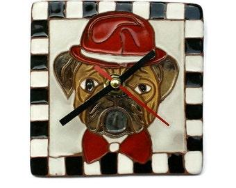 Ceramic Clock Dog, Clay Clock, Pottery Clock, Tile, Wall Clock, Pottery, Ceramic, Clock, Wall Hanging, Animals Clock, Funny Clock Dog, Clock