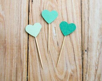 Mint Ombré Hearts, Wedding Cupcake Toppers, Shades of Mint Cake Topper, Cupcake Toppers, Mint Birthday Party Pick, Mint Heart Dessert Topper