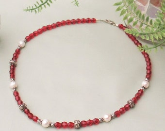 White Pearl Bali Silver Faceted Cranberry Glass Necklace Cranberry Beaded SS Jewelry Set Red White Beaded Necklace Pearl Pink SS Jewelry