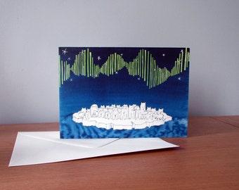 Aurora of Polar Bears. Greetings Card of an Original Illustration. Blue A6 Card. Collective Animal Noun. Northern Lights. Birthday Card