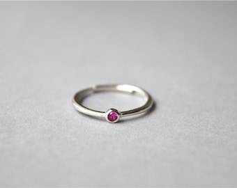 Thin zirconia ring, pink zirconia ring, sterling silver ring, silver solitaire ring, adjustable, one size suits all ( J18)