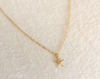Starfish Necklace, 14K Gold Filled, Child Necklace, Delicate Necklace, Beach Necklace, Beach Wedding Necklace, Minimalist Necklace, Layering