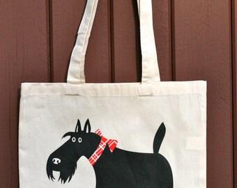 scottish terrier tote bag - scotty dog tote bag - scottie dog tote bag - dog tote bag - black dog bag - scotty handkerchief - terrier bag