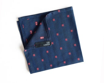 Makoto Indigo Blue Japanese Cotton Pocket Square, Men's Hand-Rolled Handkerchief