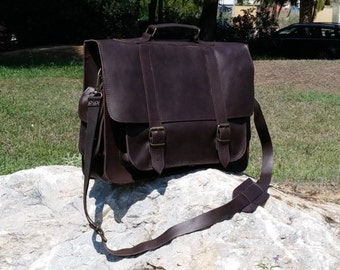 Leather Messenger Bag. Handmade 17 inch Professional Laptop Bag. Dark Brown Color. Other Colors: Tobacco, Natural, Black.