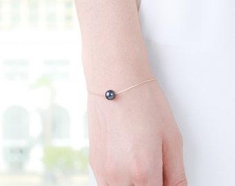 Black Gold Pearl Bracelet - Minimalist Bracelet - Delicate Jewelry - Black Pearl Bracelet - Single Pearl Necklace - Swarovski Pearl Bracelet