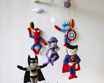 Baby Mobile - Baby Crib Mobile - Super Hero Mobile - Custom Baby Mobile (Free pick The Super Heroes of your choice)
