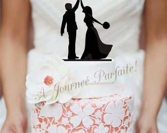 Wedding Cake Topper with Silhouette Couple giving the High Five [AJP7]