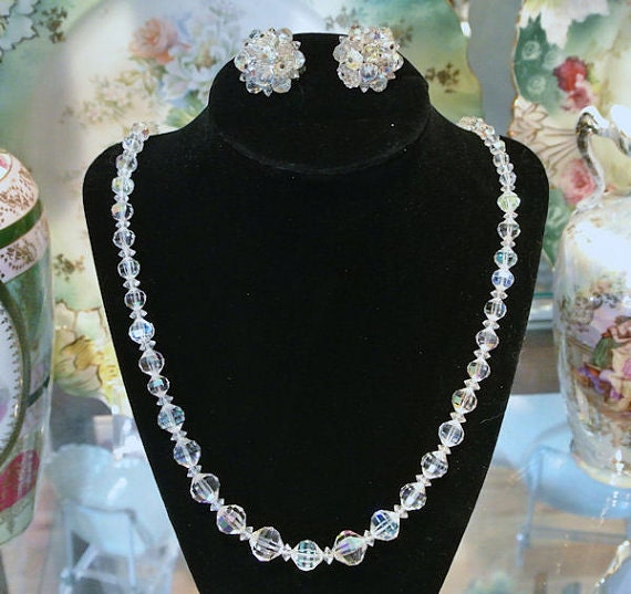 Vintage Crystal Necklace Earrings Matching Set Mid Century Hollywood Demi Parure Jewelry Set Clip On Earrings Wedding Bride Bridal
