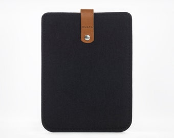 Kindle Paperwhite Case - Kindle Sleeve - Kindle Cover - Leather Case Kindle Paperwhite - Black Felt and Leather Case - Ereader Sleeve