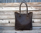 Large Brown Leather Tote Bag  /  Hand stitched leather Bag / Laptop Tote / Unisex / Ready to Ship / Everyday Leather Tote / Feral Empire