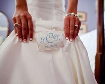 Something Blue Wedding Dress Label, Simple Monogram Style