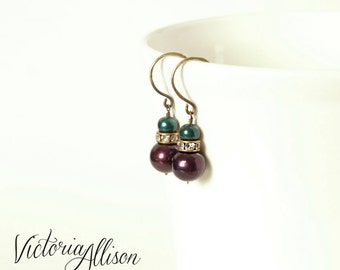 Teal and Dark Purple Plum Pearl Wedding Earrings, Rhinestones, Brass Hooks, Bridal Jewelry, Freshwater Pearls, Fall, Autumn