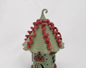 Fariy House handbuilt ceramic Whimsical garden accent outdoor ornament fairy garden toad house