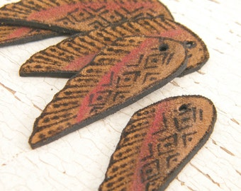 Smokey Red - Ink and Paint Leather Wing rustic boho chic suede wing focal pendant drop (ready to ship)