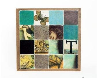 Paper Collage, recycled paper, nature art, beach house decor, ooak wall art, wood block art, original collage, pastel goth art, aqua and tan