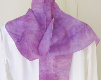 Purple hand painted  silk scarf  lavender shades 8x54 Canadian design