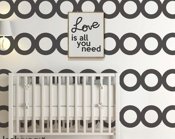 Circles Wall Stripes Decal with Wallpaper effect. Stripe Wall Decal for home or office. Baby Nursery Decal - AP0041TR