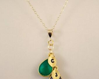 Cascade Birthstone Necklace, Personalized Necklace, Mothers Necklace, Mom Gift, Initial Necklace, Personalized Necklace, Custom Jewelry,