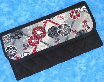 Women Wallet Fabric Wallet Vegan Wallet Trifold Wallet Floral Ladies Wallet Checkbook Wallet Black Wallet Cloth Wallet Velcro Asian
