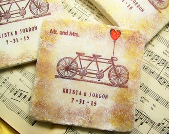 Personalized Coasters, Mr. & Mrs. Tandem Bike Wedding Coasters, Set of 4 Personalized Wedding FOUR Different Sentiments