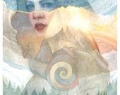Maiden Goddess Art - Double Exposure Style Watercolor Art
