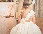 flower girl dress, couture one shoulder rosette tutu dress